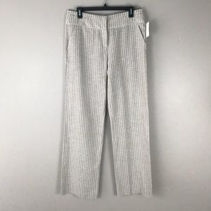 Tan and white striped linen wide leg pants size 8